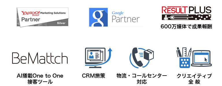 YAHOO!JAPAN マーケティングソリューション 正規代理店 Google Partner RESULTPLUS 600万媒体で成果報酬 BeMattch AI搭載One to One接客ツール CRM施策 物流・コールセンター対応 クリエイティブ全般